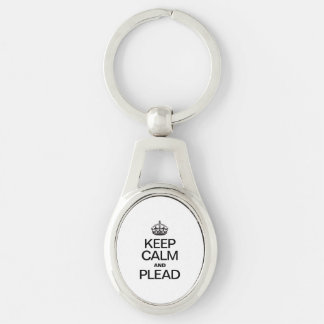 KEEP CALM AND PLEAD Silver-Colored OVAL METAL KEYCHAIN
