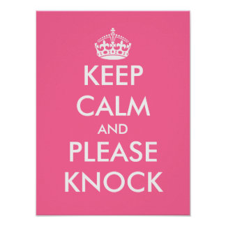 Keep calm and please knock poster