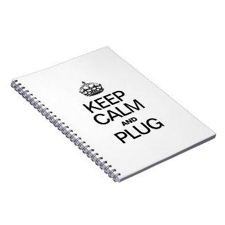 KEEP CALM AND PLUG SPIRAL NOTEBOOK