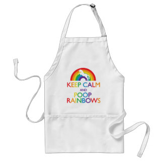 Keep Calm and Poop Rainbows Unicorn Adult Apron
