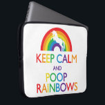 "Keep Calm and Poop Rainbows Unicorn Computer Sleeve<br><div class=""desc"">Design by Paradise City  &#169; 2014.</div>"