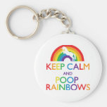 Keep Calm and Poop Rainbows Unicorn Basic Round Button Keychain