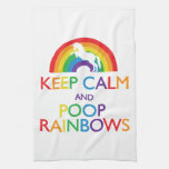 Keep Calm and Poop Rainbows Unicorn Kitchen Towel