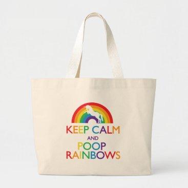 ParadiseCity Keep Calm and Poop Rainbows Unicorn Large Tote Bag