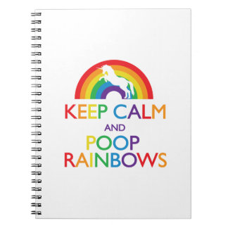 Keep Calm and Poop Rainbows Unicorn Spiral Note Books