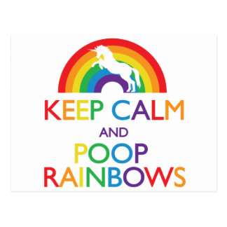 Keep Calm and Poop Rainbows Unicorn Postcard