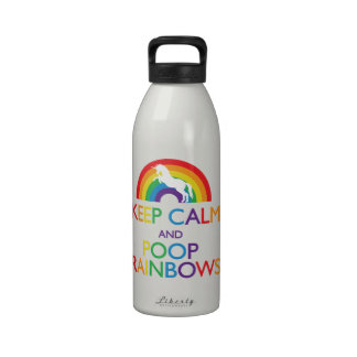 "Keep Calm and Poop Rainbows Unicorn ""Read Below"" Drinking Bottles"