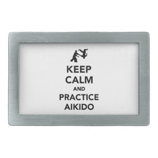 Keep calm and practice Aikido Rectangular Belt Buckles