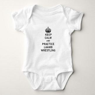 Keep Calm and Practice Laamb Wrestling Baby Bodysuit
