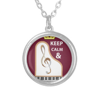 Keep Calm and Practice Music vector Round Pendant Necklace