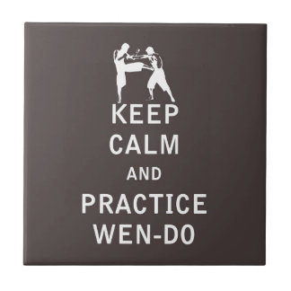 Keep Calm and Practice Wen-Do Small Square Tile