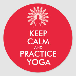 Keep calm and practice yoga classic round sticker