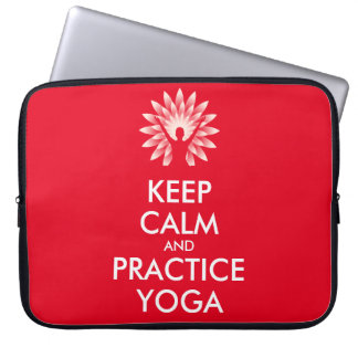 Keep calm and practice yoga laptop computer sleeve