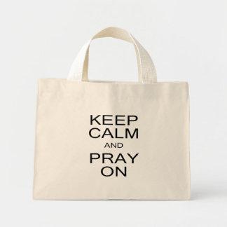 Keep Calm and Pray On Black and White Mini Tote Bag