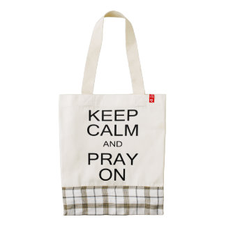Keep Calm and Pray On Black and White Zazzle HEART Tote Bag