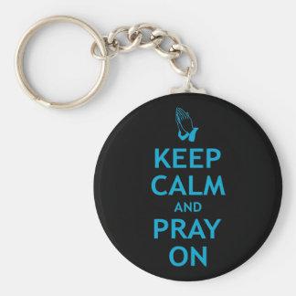 Keep Calm and Pray On Basic Round Button Keychain