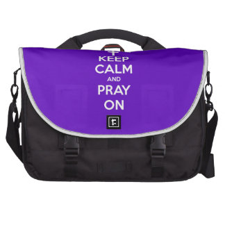 Keep Calm and Pray On Purple Bag For Laptop