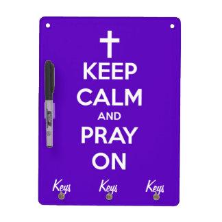 Keep Calm and Pray On Purple Dry-Erase Board