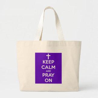 Keep Calm and Pray On Purple Jumbo Tote Bag