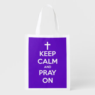 Keep Calm and Pray On Purple Personalized Bag Reusable Grocery Bags