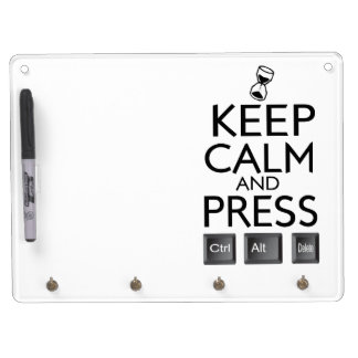 Keep Calm and press control Alt and delete funny Dry Erase Board With Keychain Holder