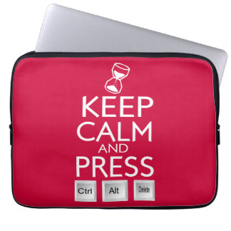 Keep Calm and press control Alt and delete funny Laptop Sleeve