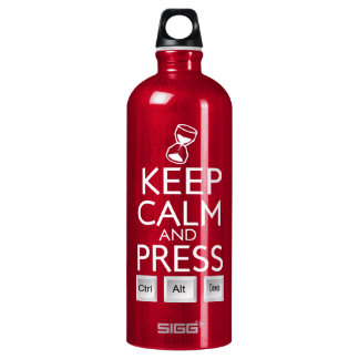 Keep Calm and press control Alt and delete funny Water Bottle