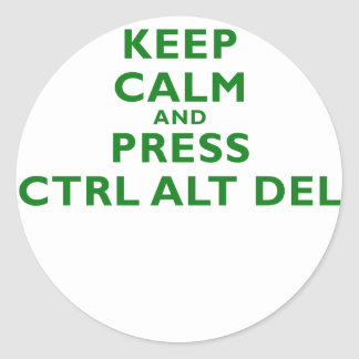 Keep Calm and Press Ctrl Alt Del Classic Round Sticker