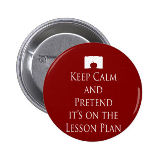 Keep Calm and Pretend it s on the Lesson Plan Pinback Buttons