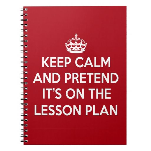 Keep Calm And Pretend It 39 S On The Lesson Plan Gift Notebook Zazzle