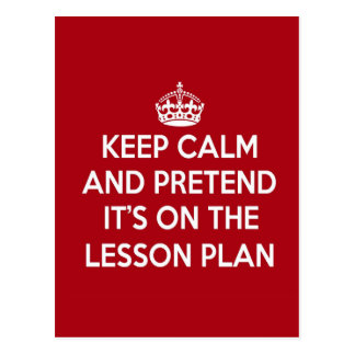 KEEP CALM AND PRETEND IT'S ON THE LESSON PLAN GIFT POSTCARD