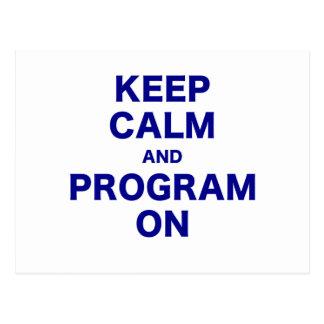 Keep Calm and Program On Postcard
