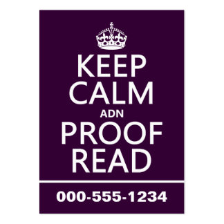 Keep Calm 'and' Proofread (adn) (in any color) Large Business Cards (Pack Of 100)