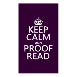 Keep Calm 'and' Proofread (adn) (in any color) Double-Sided Standard Business Cards (Pack Of 100)