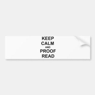 Keep Calm and Proofread black blue gray Car Bumper Sticker
