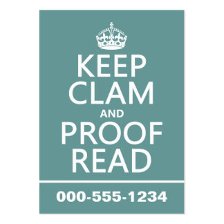 Keep Calm and Proofread (clam) (any color) Large Business Cards (Pack Of 100)