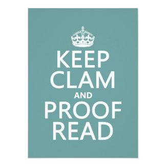 Keep Calm and Proofread (clam) (any color) Personalized Announcements