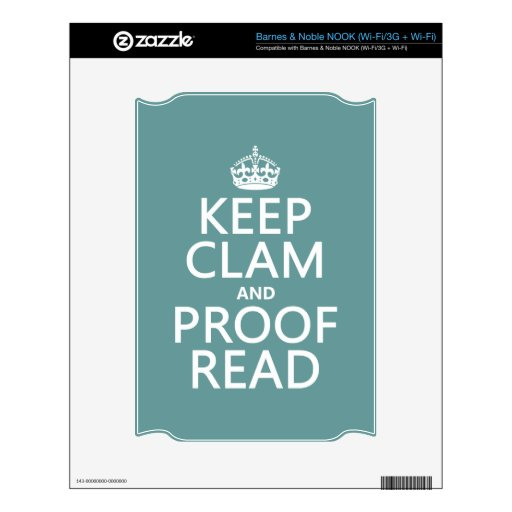 Keep Calm and Proofread (clam) (any color) Decal For The NOOK