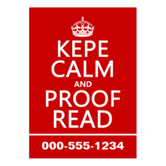 Keep Calm and Proofread (kepe) (in any color) Large Business Cards (Pack Of 100)