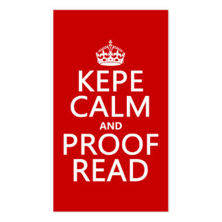 Keep Calm and Proofread (kepe) (in any color) Double-Sided Standard Business Cards (Pack Of 100)