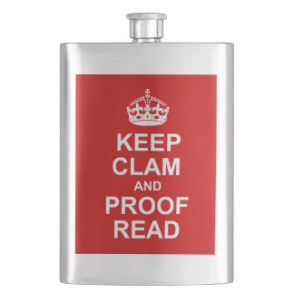 Keep Calm and Proofread Premium Flask