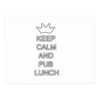 Keep calm and pub lunch postcard