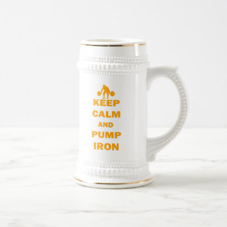 Keep Calm and Pump Iron Beer Stein