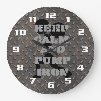 Keep Calm and Pump Iron FITNESS GYM AND WORKOUT Large Clock