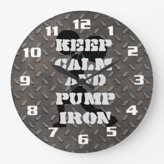 Keep Calm and Pump iron Fitness GYM Large Clock