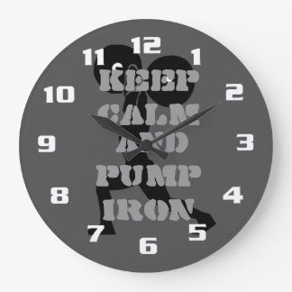 Keep Calm and Pump iron Gym and Fitness Large Clock