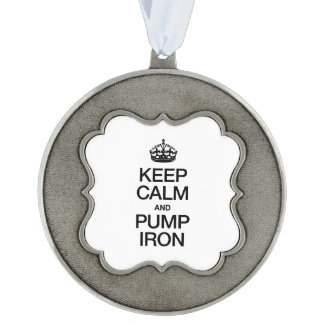 KEEP CALM AND PUMP IRON SCALLOPED PEWTER CHRISTMAS ORNAMENT