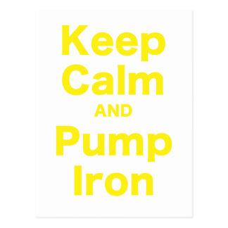 Keep Calm and Pump Iron Postcard
