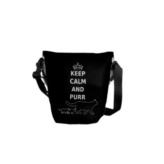 Keep Calm and Purr for cat lovers Courier Bag