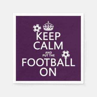 Keep Calm and (put the) Football On (customizable) Standard Cocktail Napkin